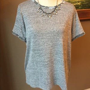 Gap tee gray with crushed velvet, large